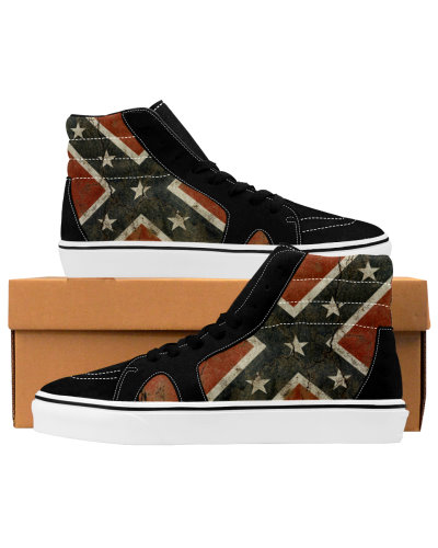 Cracked Concrete Confederate Flag deluxe high-top sneakers